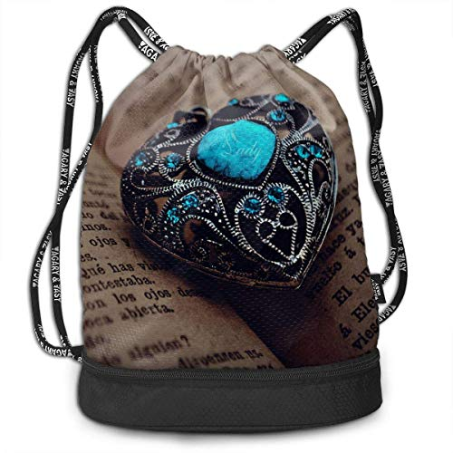 hengshiqi Rucksack Schultasche,Backpack, Gymsack Blue Diamond Ring Vintage Print Drawstring Bags - Simple Gym Shoulder Bags