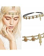HOMEYU® Antique Rhinestone Crystal Indian Wedding Wedding Gypsy Festival Head Boho Accessori per capelli Fasce per capelli