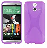 Cadorabo DE-102394 HTC ONE E8 Mobile Phone Case Flexible TPU Silicone X-Line Design Red