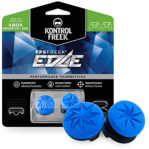 KontrolFreek FPS Freek Edge for Xbox One and Xbox Series X Controller | Performance Thumbsticks | 1 High-Rise Convex, 1 Low-Rise Convex | Blue