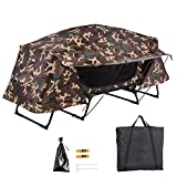 Yescom Folding Single Tent Cot Oversized Camping Hiking Bed Portable Outdoor Rain Fly, Camouflage
