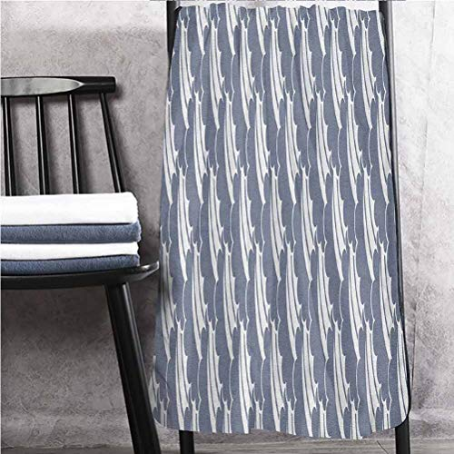 alisoso 30' W x 56' L Geometric Bath Towels Lighter Weight Quick Drying Towel Japanese Sky Pattern with Soft Color The Land of The Rising Sun Lines Stripes Bluegrey White