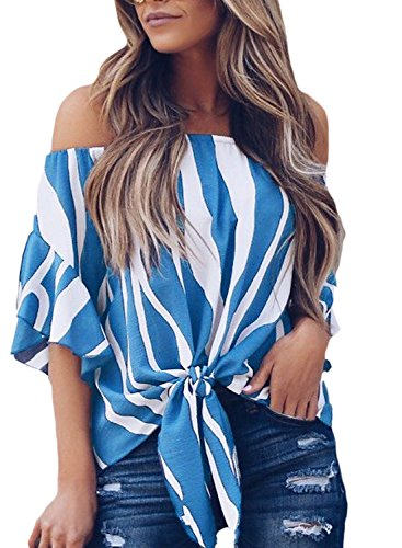 Asvivid Womens Sexy Striped Printed Off The Shoulder Shirt Ruffles Bell Sleeve Tops Summer Flowy Chiffon Vacation Blouses XL Blue