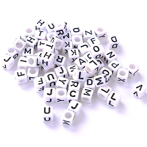 YJYJ Letras Alfabeto Beads 4mm Cuadrado Blanco Perlas De Acrílico DIY Accesorios De Joyería 100pcs