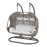 SunTime Brampton Rattan Wicker Outdoor Hanging Cocoon Egg Swing Chair with Grey Cushions (Triple)