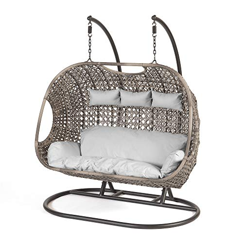 SunTime Brampton Luxury Rattan Wicker Outdoor Hanging Cocoon Egg Swing Chair with Grey Cushions and Cover (Triple)