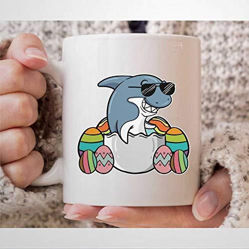 Taza de café con huevo de Pascua con diseño de tiburón, para el día de Pascua, para los amantes de los tiburones, para hombres y mujeres, decoración de Pascua, regalo de Pascua, taza de té de 12 onzas