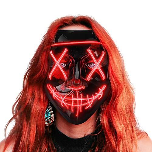 AnanBrosMascara LED Halloween, la Purga Mascara LED, Halloween Purge Mask 3 Modos de Iluminación, Brilla en la Oscuridad Mascara la Purga LED para Fiestas de Disfraces Cosplay Carnaval - Rojo