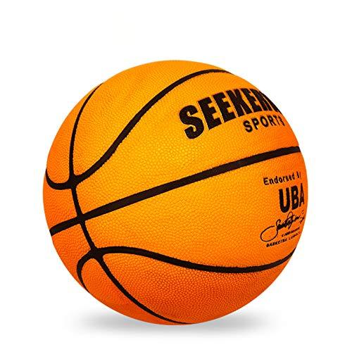 LDLXDR Balones de Baloncesto- Baloncesto de Alta Resistencia No. 7 PU Caucho de protección Ambiental de Superficie Antideslizante, Adecuado para Entrenamiento en Interiores y Exteriores,Orange