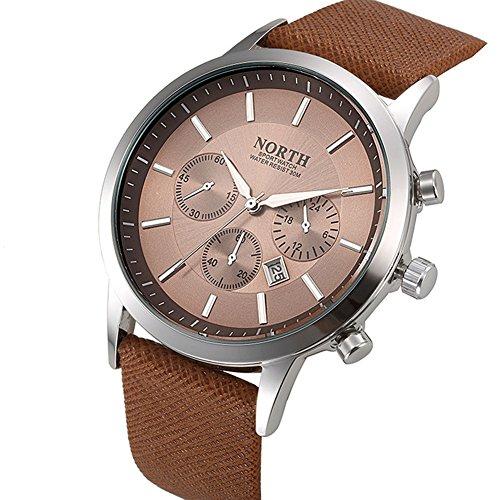 FENKOO Herren Armbanduhr Quartz Kalender Leder Band Schwarz/Weiß/Blau Marke