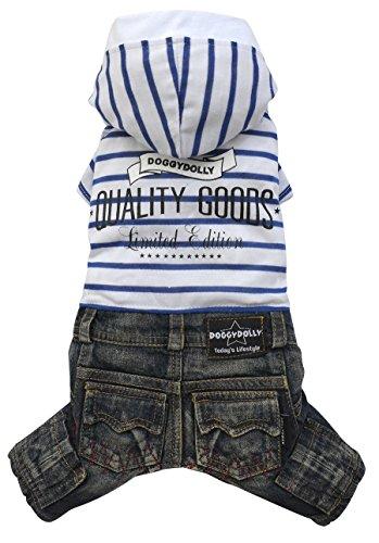 Doggy Dolly C243 hondencombi jeans met capuchon, zwart/wit gestreept, XXS Brust 26-28cm, Rücken 13-15cm