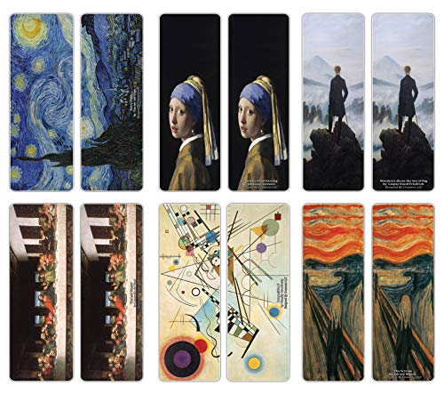 Creanoso Famous Classic Arts Series 2 Bookmarks (12-Pack) - Van Gogh, Da Vinci, Edvard Munch, Vermeer, Friedrich, Kandinsky  Essential Famous Artists Collection Set  Wall Dcor Pack