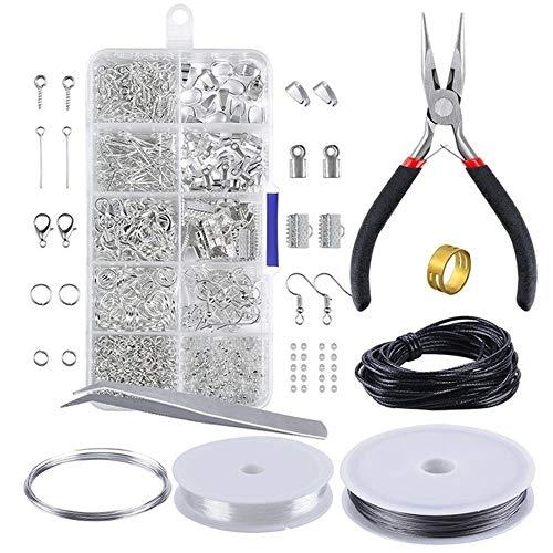 KKmoon Kit de Fabricação de Jóias Descobertas Jóias Conjunto de Iniciantes Jóias Beading Ferramentas de Fabricação e Reparação Alicates Contas de Prata Fio Iniciador Ferramenta Tamanho 2