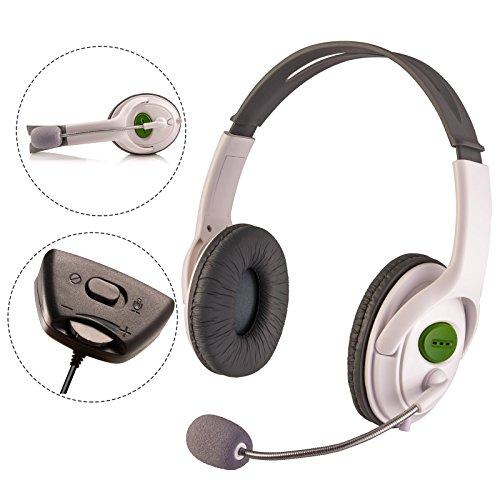Ameego Premium Deluxe X-Box XBOX 360 - Auriculares estéreo en vivo, color blanco con micrófono de micrófono, almohadillas de espuma