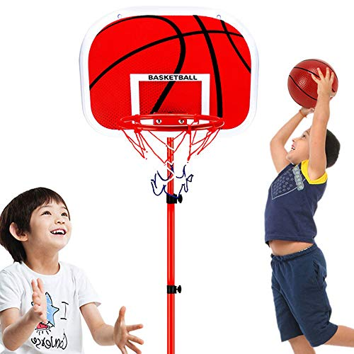 S&D Kinder-Indoor Outdoor Mini-Basketball-Brett, justierbare Kinder Basketball-Standplatz, Basketball Tragbare Boards für Kleinkinder Kinder Jungen Mädchen,Rot