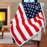Patriotic US Flag Blanket, American National Flag Throws, Sherpa Fleece Plush Super Soft Cozy Warm Reversible Blanket for Couch Bed, 4th of July Citizenship Veteran Gift, 50X60 inches