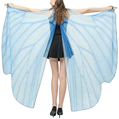 INLLADDY Damen Schmetterling Umhang Kostüm Mesh Transparent Faschingkostüme Schal Flügel Schal Tuch Erwachsene Poncho für Party Kostüm Cosplay Karneval Himmelblau 168x135CM