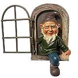 QiFei Zwerg Aus Dem Fenster Baumdeko - Gartendeko - Baumgesicht - Skulptur Gartenzwerg Ornament, lustiger pinkelnder Gnom Frecher Gartenzwerg für Rasenschmuck, Innen- oder Außendekorationen