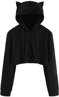 STORTO Womens Cat Ear Hoodie Crop Sweatshirt, Long Sleeve Bat Hooded Pullover Tops Blouse