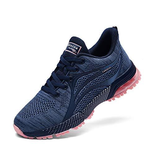 NewNaisu Damen Sneaker Laufschuhe Air Turnschuhe Leichte Luftkissen Sportschuhe Atmungsaktiv Joggingschuhe Straßenlaufschuhe Blau Pink 36 EU