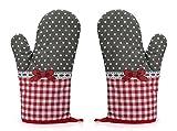 Rusty Bob Ofenhandschuhe zum Backen | Backofenhandschuh Hitzebeständig | in vielen lustigen Designs | Koch und Topflappen, Baumwolle, Grau-rot Gepunktet-2er Set, 1