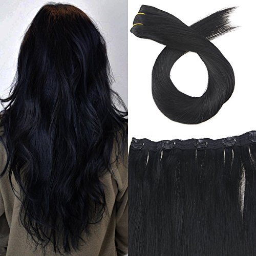 Moresoo One Piece Clip in Human Hair Extensions in Jet Black
