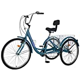 Barbella Adult Three Wheel Tricycle 7 Speed Cruiser Trike Bike 26 Inch with Removable Wheeled Basket Bell for Shopping or Carry Dogs Exercise Bicycle (Peacock Blue)