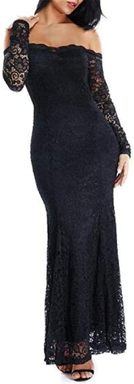 Emmani Women's Long Sleeve Lace Evening Dressess Bodycon Long Prom Wedding Dress