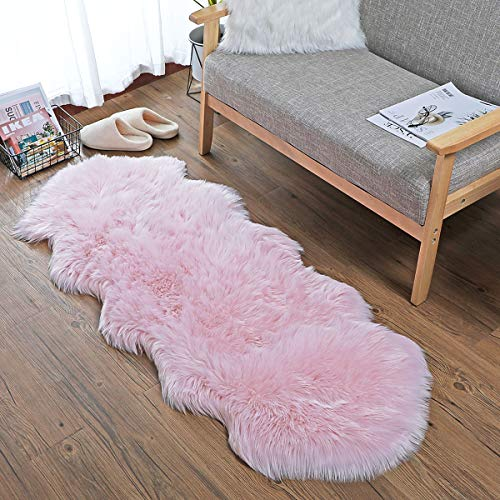 SXYHKJ Faux Sheepskin Rugs, Soft Fluffy Faux Chair Cover Hairy Washable Carpet Non...