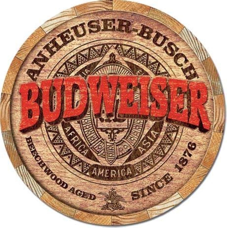 反対鋭くホテルなまけ者雑貨屋 Budweiser Barrel End アメリカン ビンテージ風 レトロ アンティーク ブリキ看板 メタルプレート 屋内 用
