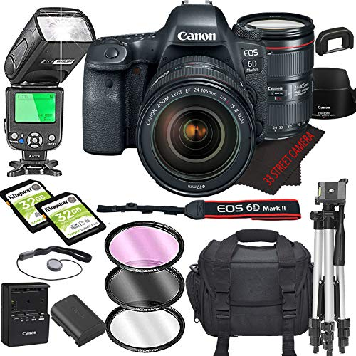 Canon EOS 6D Mark II DSLR Camera Bundle with 24-105mm L is II USM Lens | Built-in Wi-Fi|26.0 MP Full Frame CMOS Sensor | |DIGIC 7 Image Processor and Full HD Videos + 64GB + TTL Bounce Flash (17pcs)