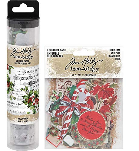 Tim Holtz Holiday - Holly Collage Paper and 2020 Christmas Snippets - 2 Items