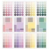 PMSMT 4 Hojas/Paquete de Pegatinas de Color sólido Scrapbooking Lindo Diario estacionario Pegar índice calcomanías Redondo Cuadrado Etiqueta Adhesiva grabable
