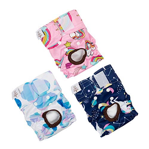 CuteBone Dog Diapers Female Puppy Pants Washable for Untrained Puppies, Dogs in Heat, Doggie Menstrual and Incontinence D26M