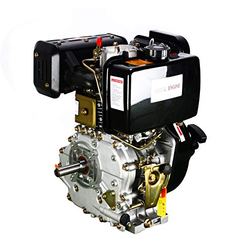 TBVECHI Engine 406CC 9HP Diesel Engine 4 Stroke Single Cylinder Air- Cooled Recoil 3600 RPM, 9 HP Single Cylinder Air Cooled Machine