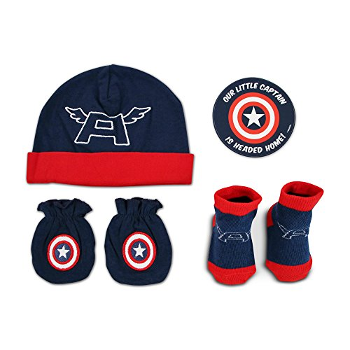 Marvel Baby Boys Captain America, Mitten And Socks Take-Me-Home Set, 0-3 Months