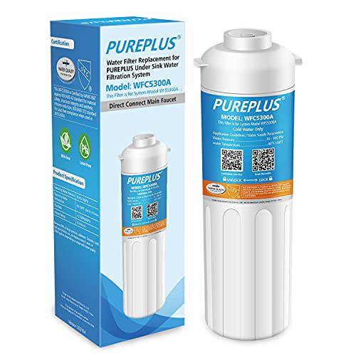 PUREPLUS WFC5300A Under Sink Water Filter, 22000 Gallons, 99.99% Chlorine Reduction, NSF/ANSI Certified, Replacement for WFS5300A Under Counter Water Filtration System