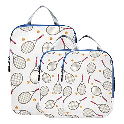 Cubos de embalaje de viaje de compresión para raqueta de bádminton y raqueta de tenis, juego de bolsas organizadoras de maletas, accesorios de viaje expandibles para equipaje de mano, viajes (juego d