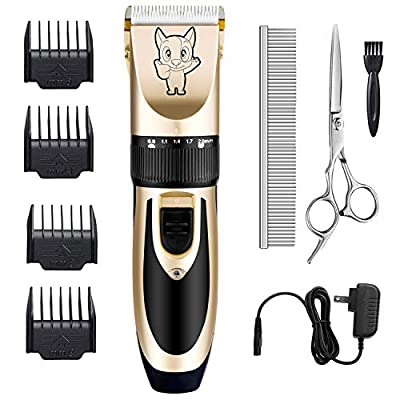 Dog Grooming Kit Clippers, Low Noise, Electric Quiet, Rechargeable, Cordless, Pet Hair Thick Coats Clippers Trimmers Set, Suitable for Dogs, Cats, and Other Pets (Gold) from Highdas