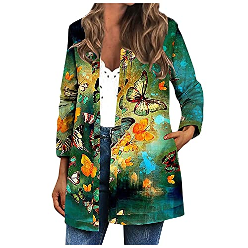 Trendy Elegant Cardigan for Women Floral Printed Plus Size Long Sleeve Open Front Tops Fall Party Club Loose Comfy Slim Fit Coat Jacket Outwear with Pocket(Green,Small)