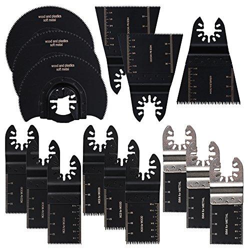 OxoxO 15 stks Gemengde Zaag Hout Bi-metaal Precisie Oscillerende Multitool Snelle Vrijgave Zaagbladen Fit Zwart & Decker, Bosch, Craftsman, Chicago, Cougar, DeWalt, Dremel, Rijkracht
