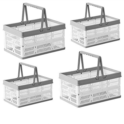 4 Pack Plastic Collapsible Storage Crates with Handles, Stackable Folding Shopping Baskets, Utility Container Organizer Bins for Kitchen Bathroom Grocery Car Trunk, 2 Large & 2 Small
