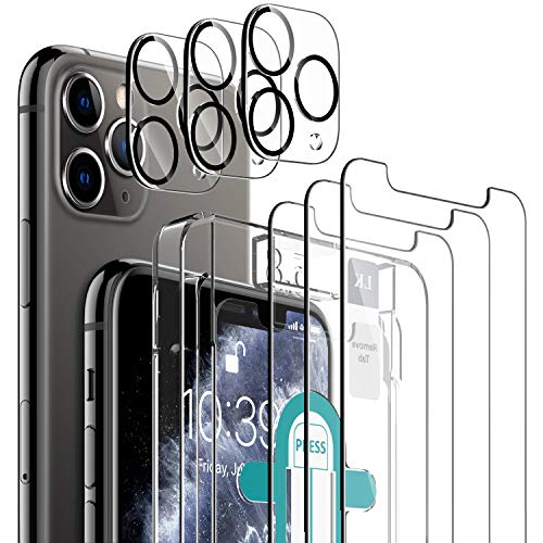 [6 Pack] LK 3 Pack Screen Protector for iPhone 11 Pro + 3 Pack Camera Lens Protector Anti-Scratch (Easy-Installation Tool) Tempered Glass 9H Hardness for iPhone 11 Pro-5.8 inch