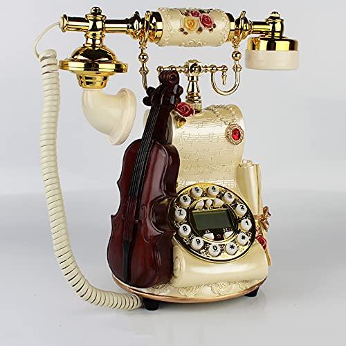TeléFono Fijo Vintage con Cable,con Campana de Metal CláSica,Puede Volver a Marcar y Rotar Diales,TeléFono Fijo CláSico Adecuado para la DecoracióN del Bar CafeteríA(Color:Esfera de botones de bronce)