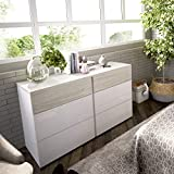 LIQUIDATODO  - Comoda de 6 cajones 122 cm moderna y barata en blanco brillo y gris