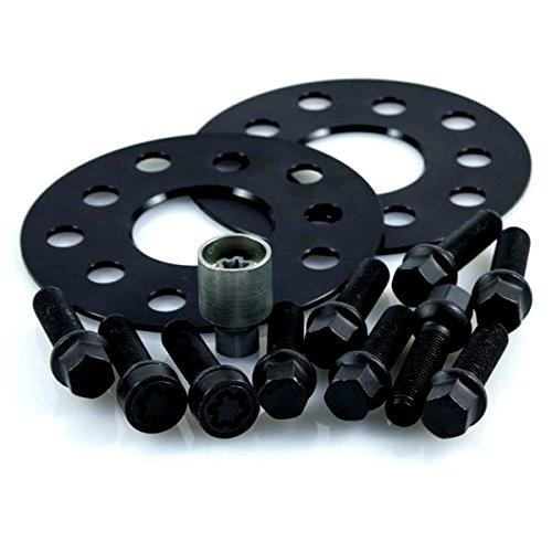 TuningHeads/H&R .0478784.DK.B55571-05.GOLF-VI-TYP-1K ABE Spurverbreiterung Blackline, 10 mm/Achse + Radschrauben + Felgenschlösser, 10 mm/Achse