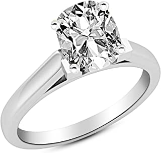 863d187f4 0.5 1/2 Ct Cushion Modified Cut Cathedral Solitaire Diamond Engagement Ring  14K White Gold