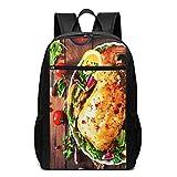 Schulrucksack Rezept gebackenes Huhn gefüllt, Schultaschen Teenager Rucksack Schultasche Schulrucksäcke Backpack für Damen Herren Junge Mädchen 15,6 Zoll Notebook