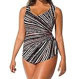 Allence Große Größen Damen große Größen bis 60 | Badeanzug | Schwimmanzug mit Sonnenschutz | Einteiler Bademode | Seitliche Streifen, Vorderfutter & Unterbrustband