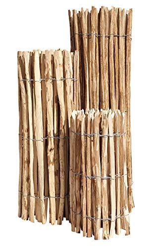 Nature LOUNGE Staketenzaun Haselnuss 80 x 500 cm (Lattenabstand 7-9 cm) - Staketen Rollzaun Kastanienzaun Garten Zaun Kastanie